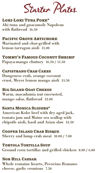 » Tommy Bahama's menu